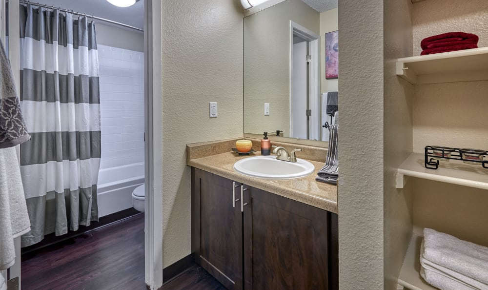 Bathroom at City Center Station Apartments in Aurora, Colorado