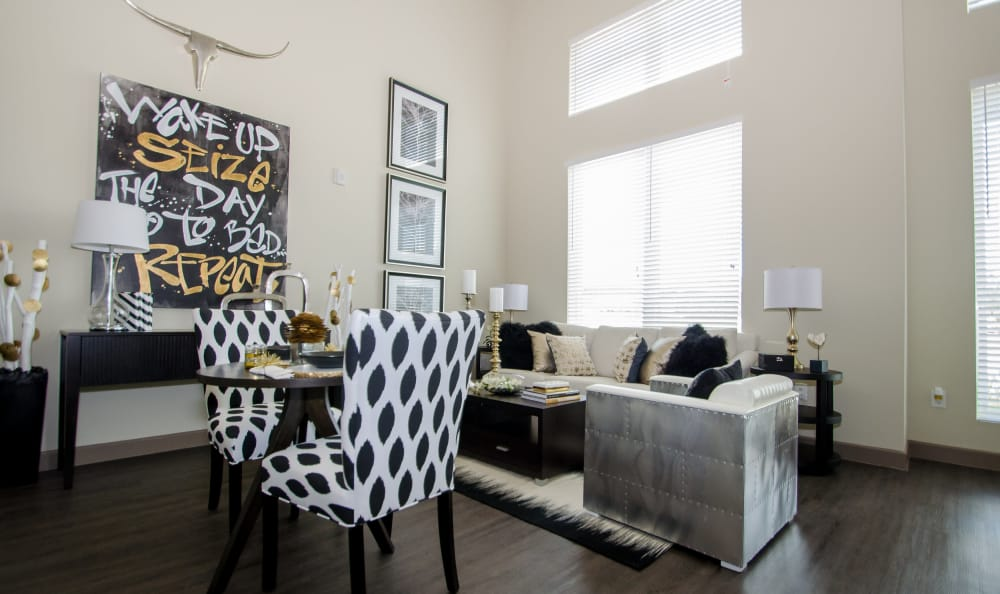 spacious living room at GreenVue Apartments