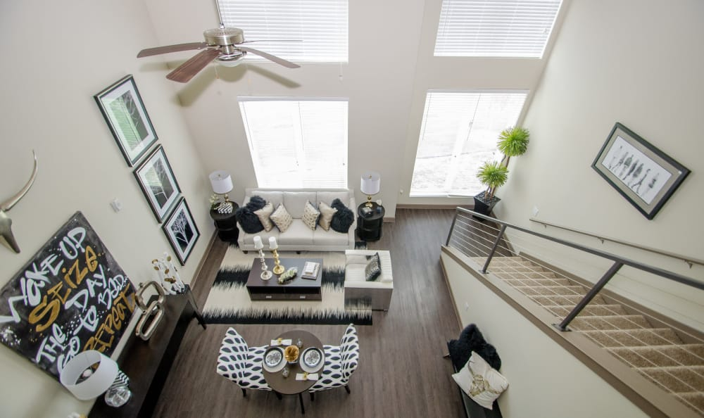 View from a spacious loft at GreenVue Apartments