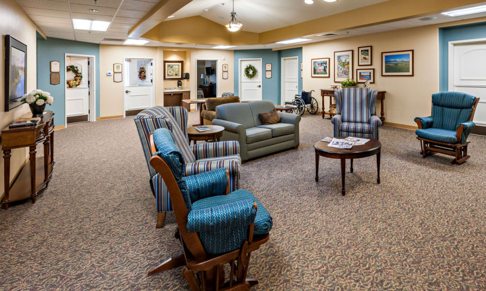 A memory care common room at Touchmark at Wedgewood in Edmonton, Alberta