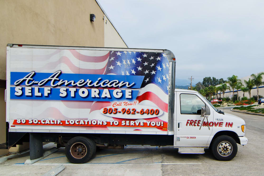 A branded moving truck parked at A-American Self Storage in Santa Barbara, California
