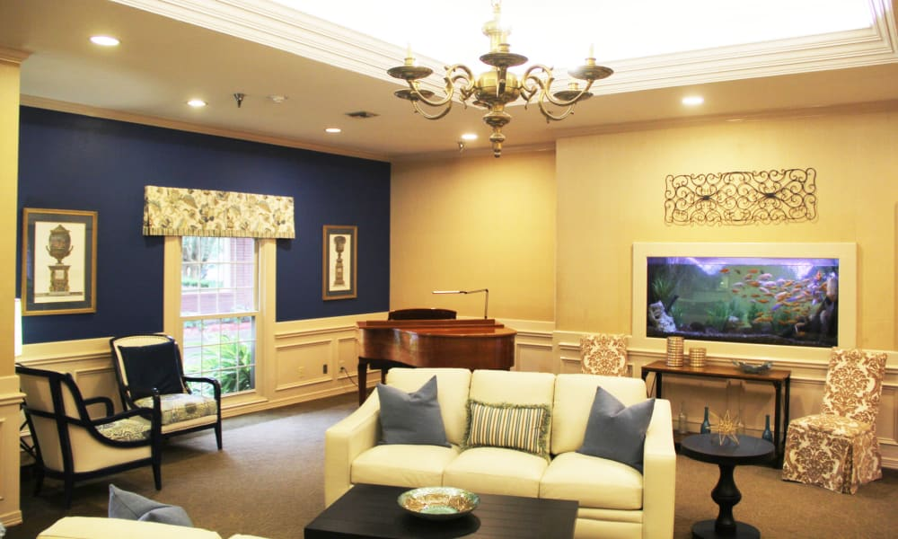 Community room at Village on the Park Friendswood in Friendswood, Texas
