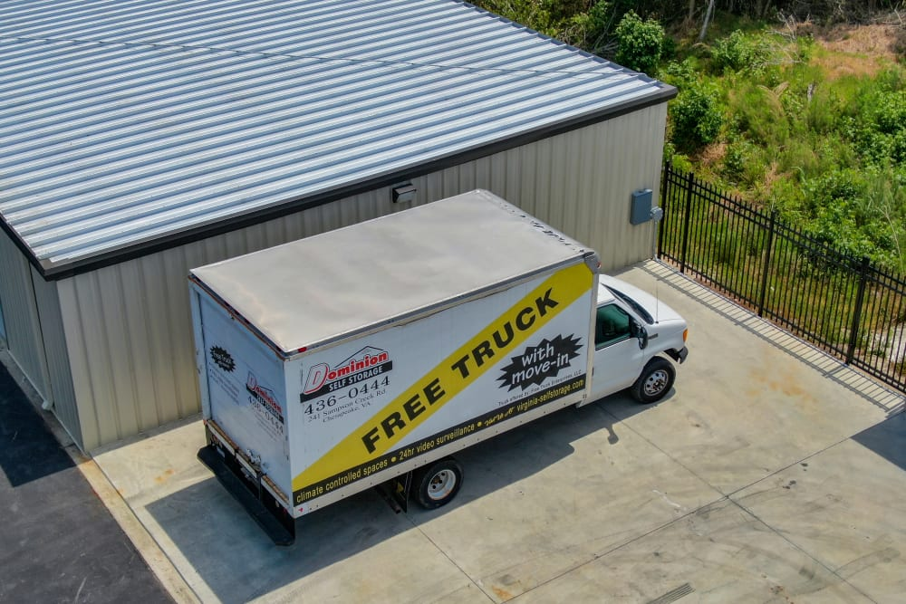 The moving truck at Dominion Self Storage in Chesapeake, Virginia
