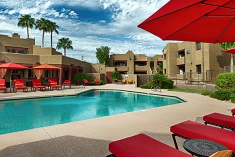 Enjoy a swimming pool at Casa Santa Fe Apartments in Scottsdale, Arizona