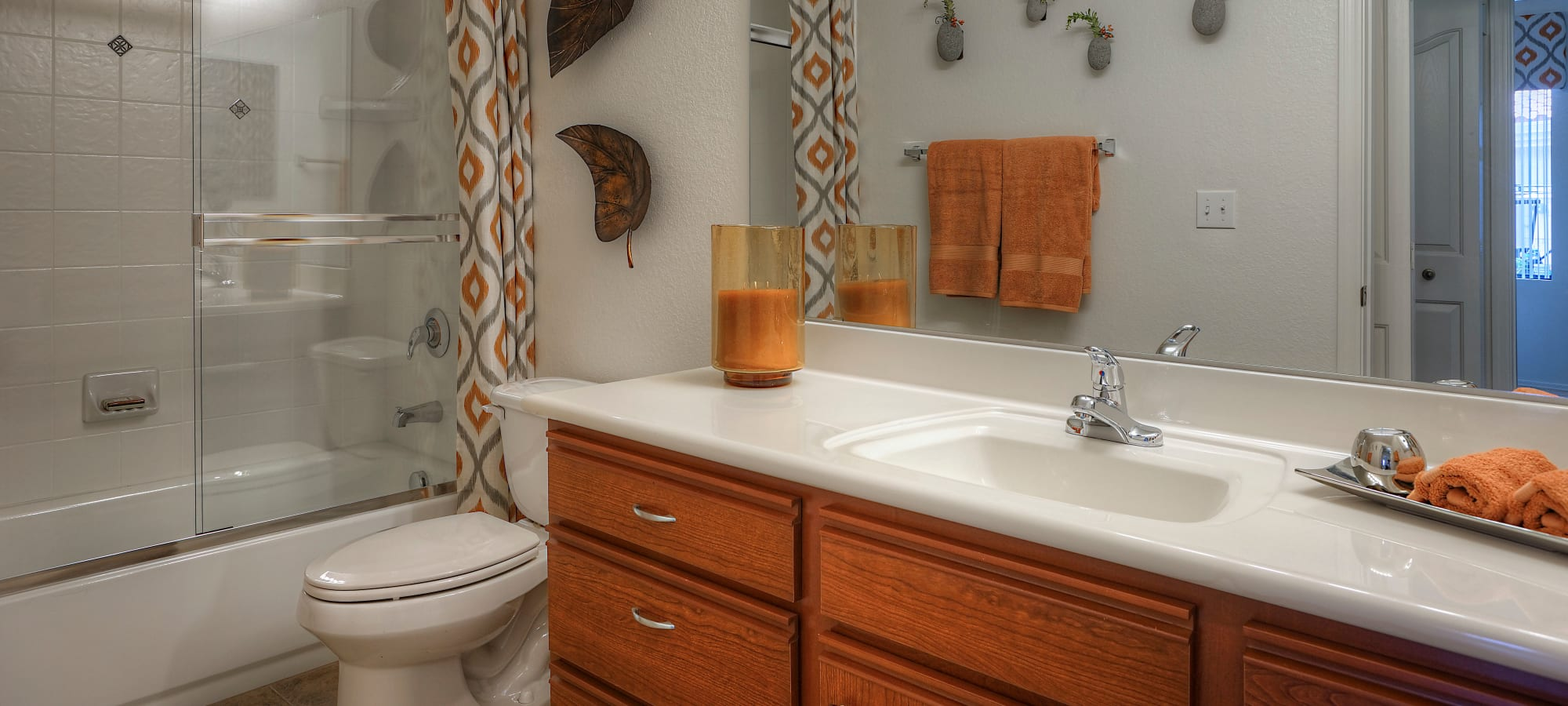 Bathroom with contemporary decor in model home at San Palacio in Chandler, Arizona