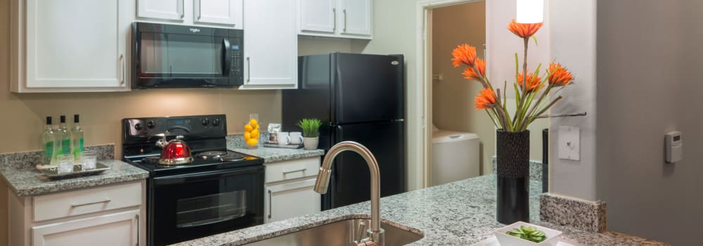 A kitchen with a stainless-steel sink at Sommerall Station Apartments in Houston, Texas