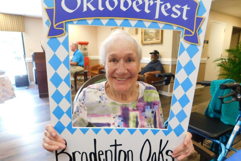 A resident enjoying Oktoberfest at Bradenton Oaks in Bradenton, Florida