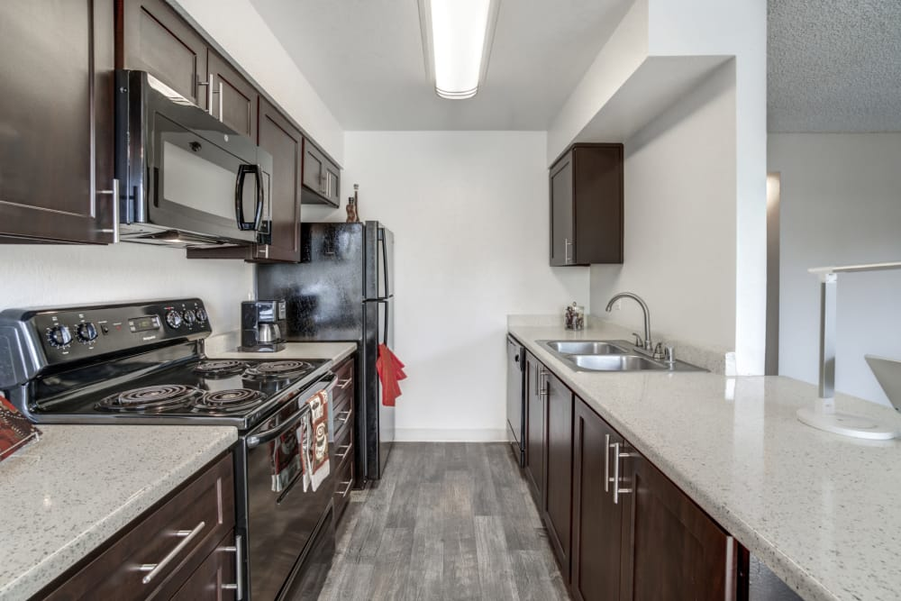 Bright kitchen At Parkside Commons Apartments