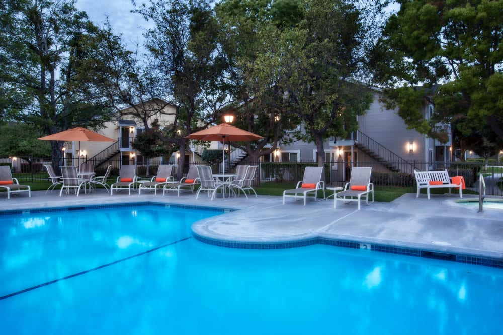 Sparkling swimming pool at Cypress Pointe Apartments in Gilroy, California