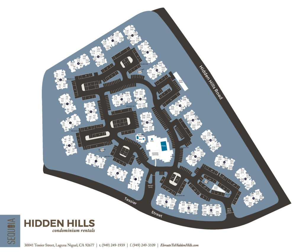 Community site map for Hidden Hills Condominium Rentals in Laguna Niguel, California