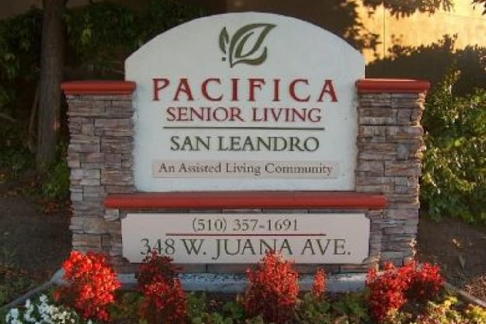 Entrance sign at Pacifica Senior Living San Leandro in San Leandro, CA