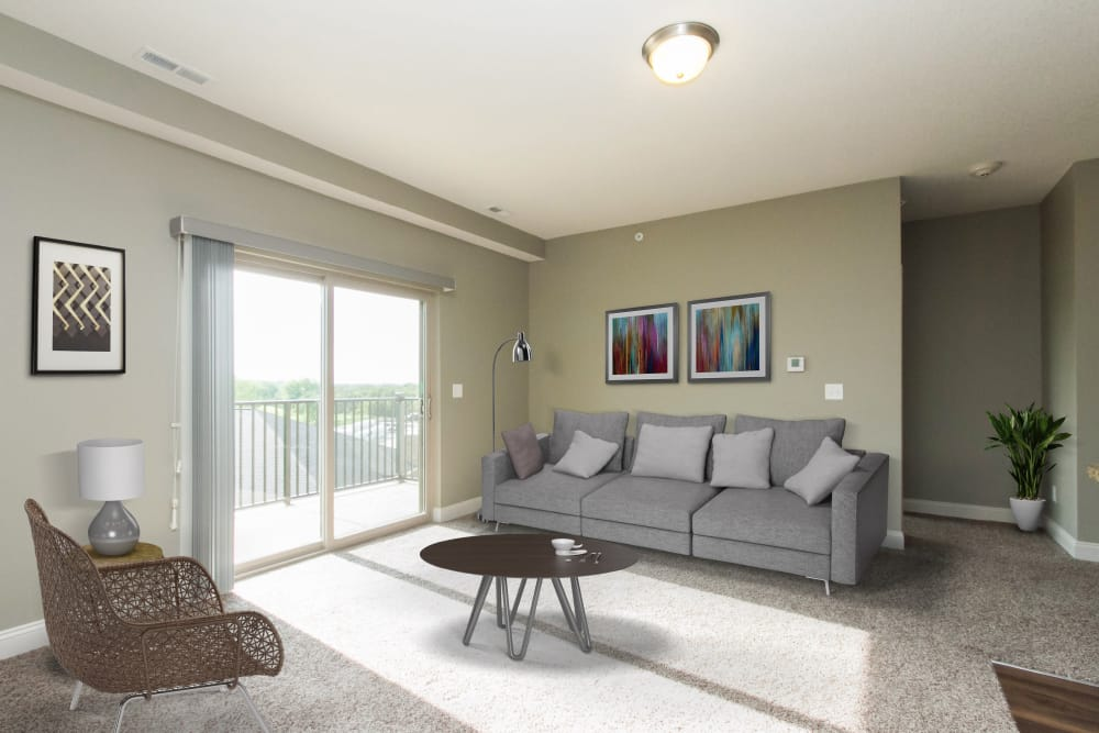 Model living room at The Cascades at Jordan Creek in West Des Moines, Iowa