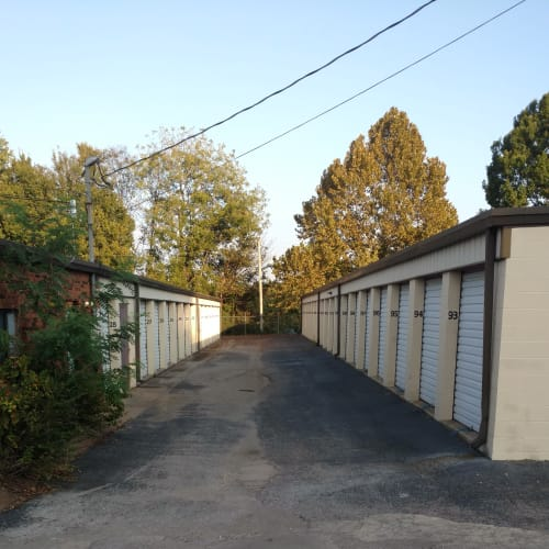 View down a row of beige storage units with trees at Red Dot Storage in Columbia, Tennessee