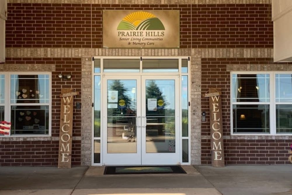 Front entrance and sign at Prairie Hills in Clinton, Iowa.