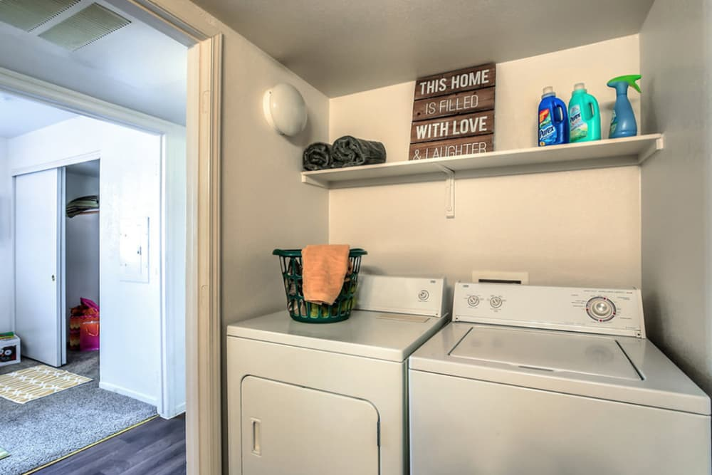 Full-size washer and dryer in apartment at Portola Del Sol in Las Vegas