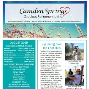 August Camden Springs Gracious Retirement Living newsletter