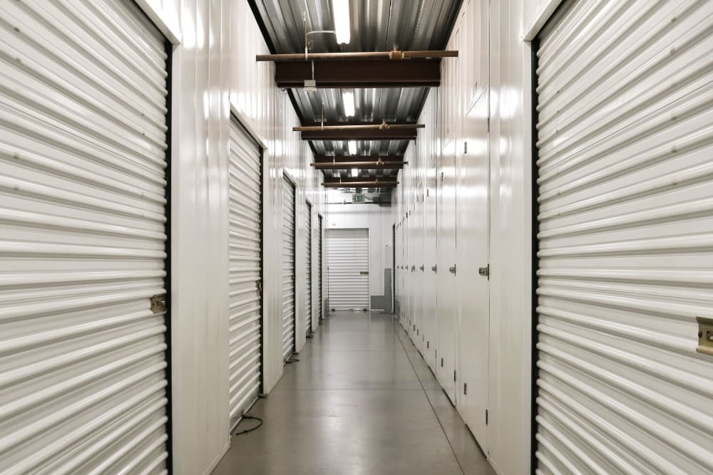 A row of indoor storage units at A-1 Self Storage in Glendale, California