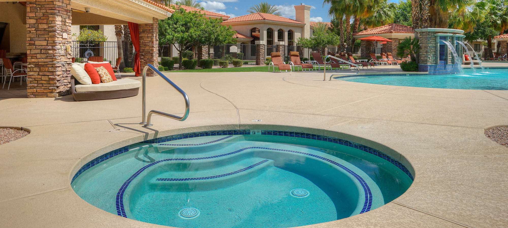 A relaxing spa on a sunny day at San Palacio in Chandler, Arizona