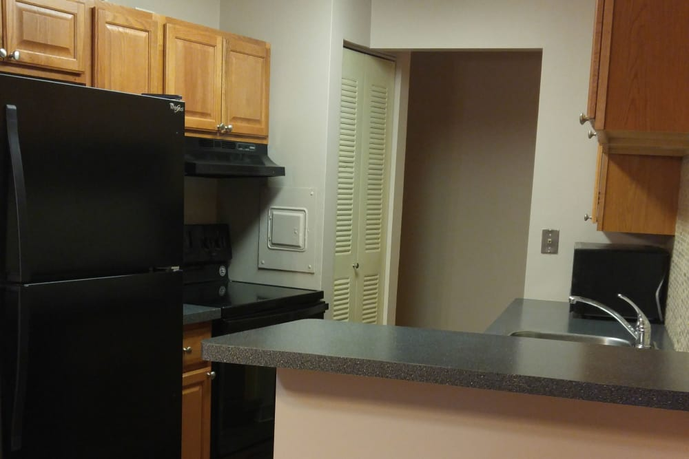 Galley Style Kitchen at Triad Apartments