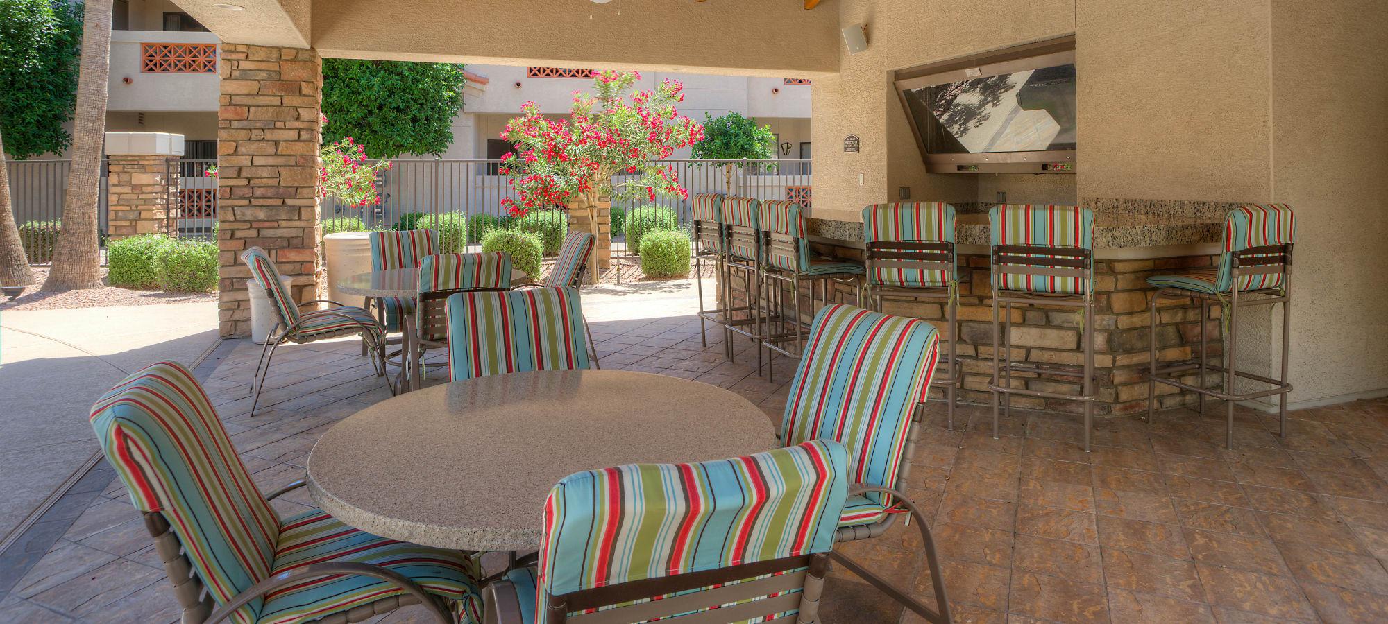 Outdoor seating at San Prado in Glendale, Arizona
