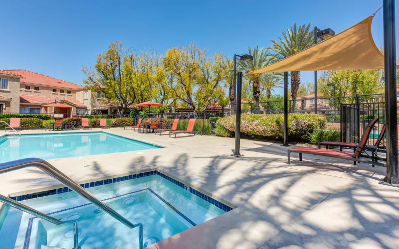 Spa and swimming pool at Tuscany Village Apartments in Ontario, California