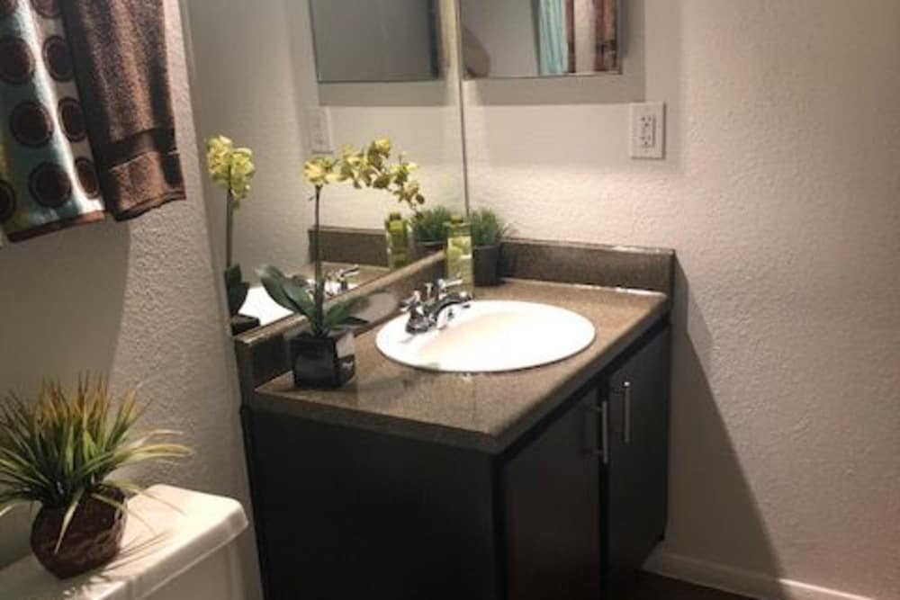 Bathroom sink at The Reserve at City Center North in Houston, Texas