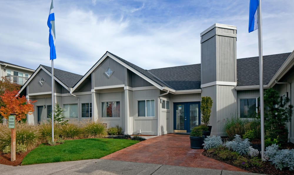 Exterior of leasing office at Bridge Creek Apartments in Vancouver, Washington