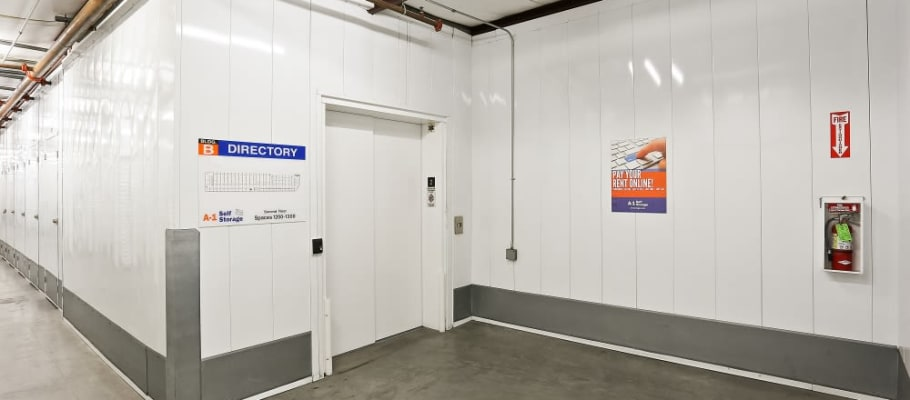 An elevator and high ceilings at A-1 Self Storage in La Mesa, California