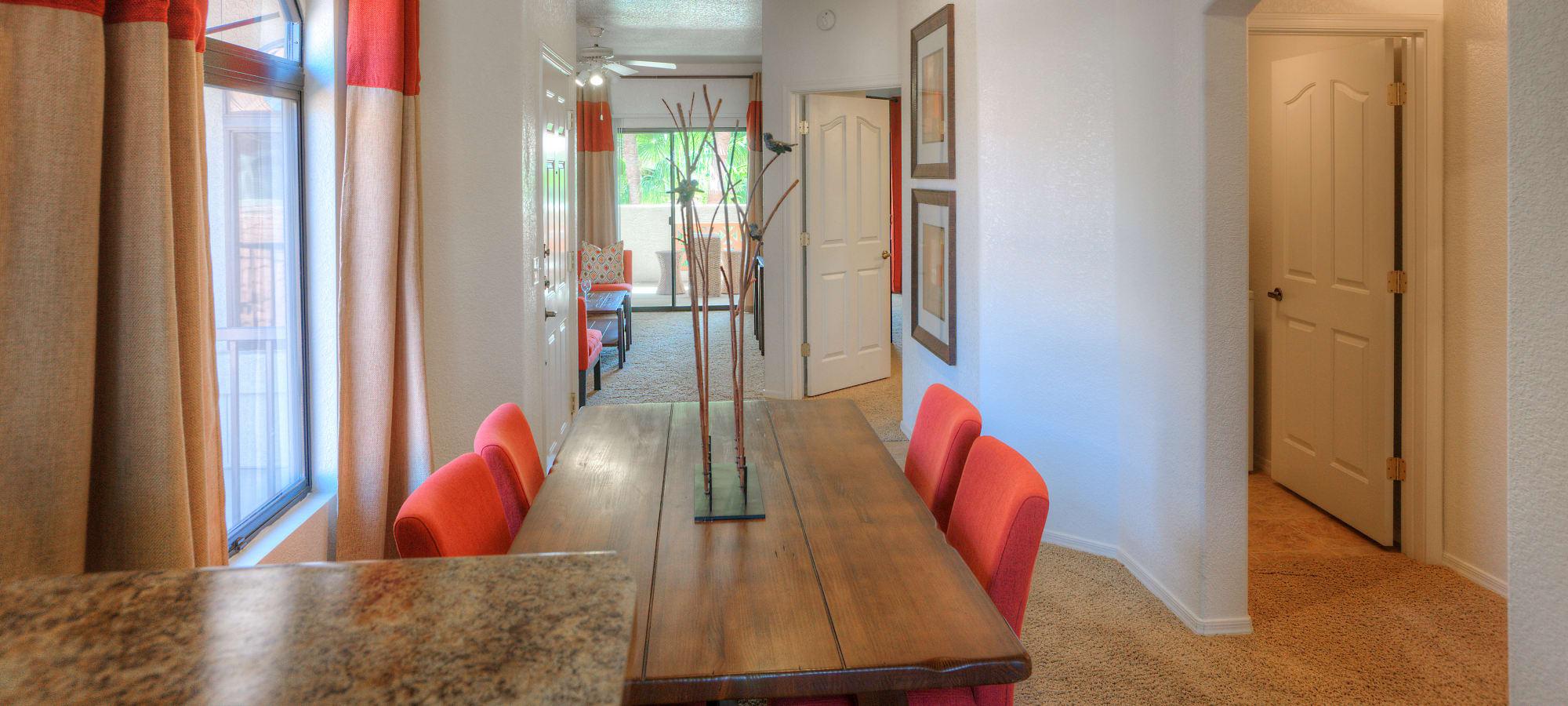 Model dining room at San Prado in Glendale, Arizona