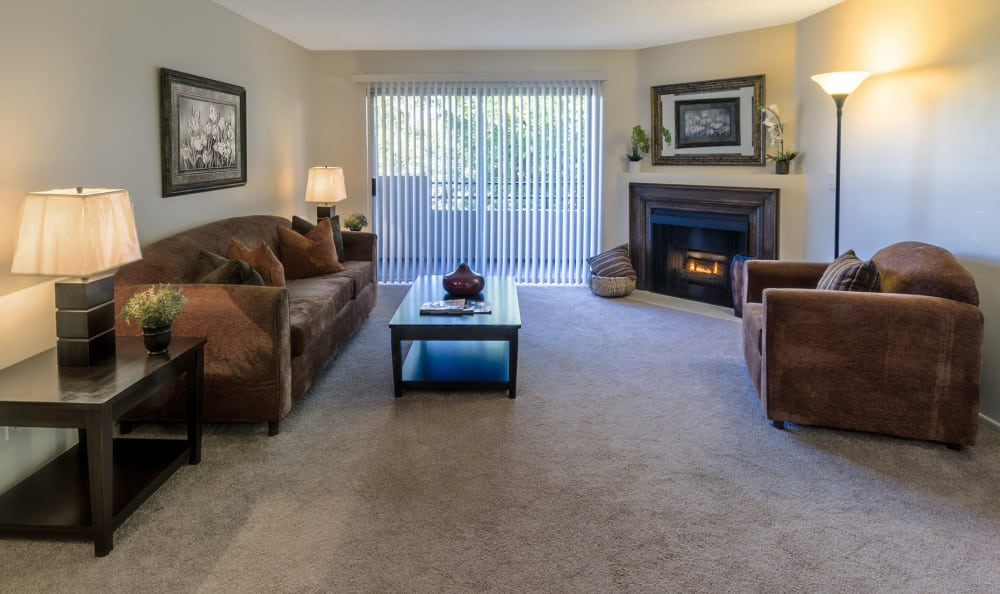 Large open living room waiting for your furniture at The Plaza in Valley Village, CA
