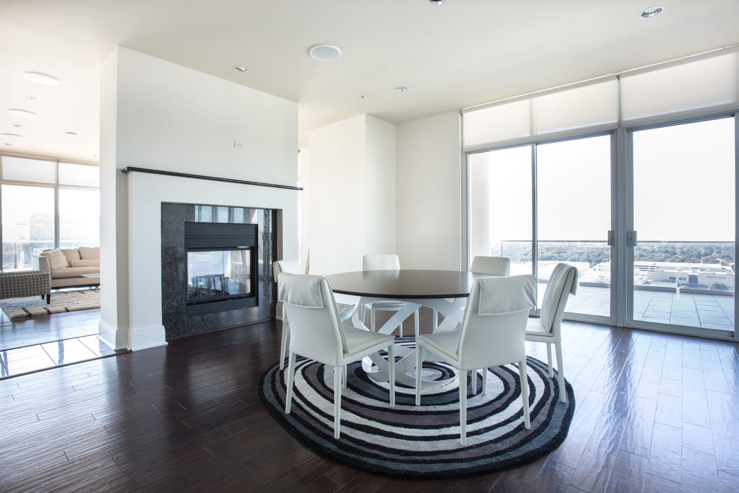 Modern dining room at The Heights at Park Lane in Dallas, Texas