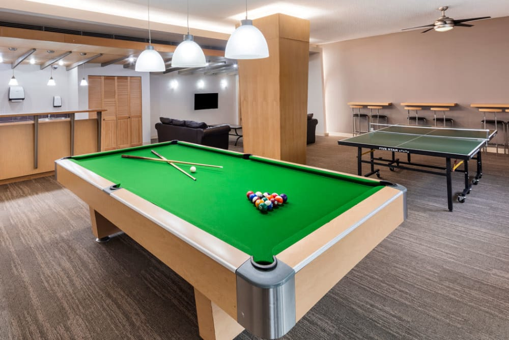 Pool table and rec room at Parkview Towers