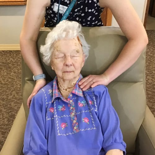 Resident getting a massage at Glen Carr House Memory Care in Derby, Kansas