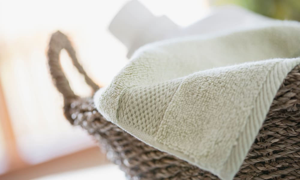 Towel in basket at Abrams Hall Senior Apartments in Washington, District of Columbia