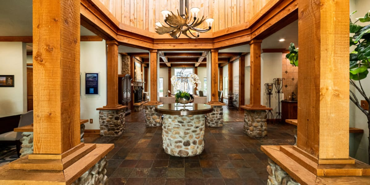 Interior lobby area at Marquis at Lantana in Flower Mound, Texas