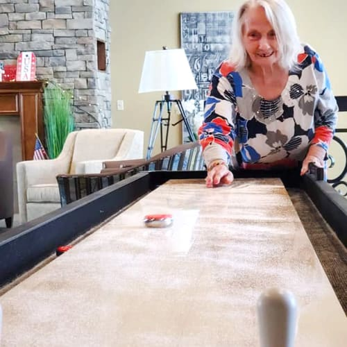 Shuffleboard at The Oxford Grand Assisted Living & Memory Care in Kansas City, Missouri