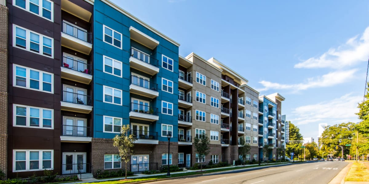 Outside of property from across the street to Marq Midtown 205 in Charlotte, North Carolina