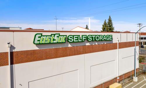 East Sac Self Storage in Sacramento, California self storage Front sign