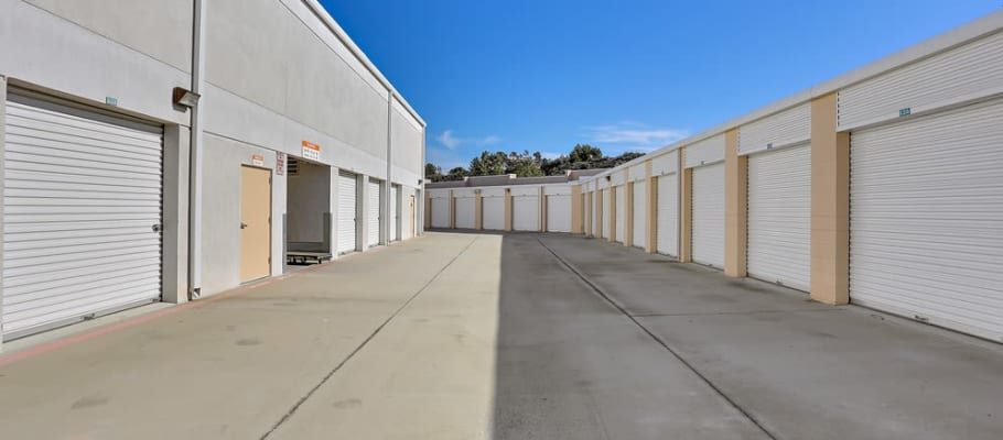 Wide driveways at outside storage units at Lake Forest, California at A-1 Self Storage