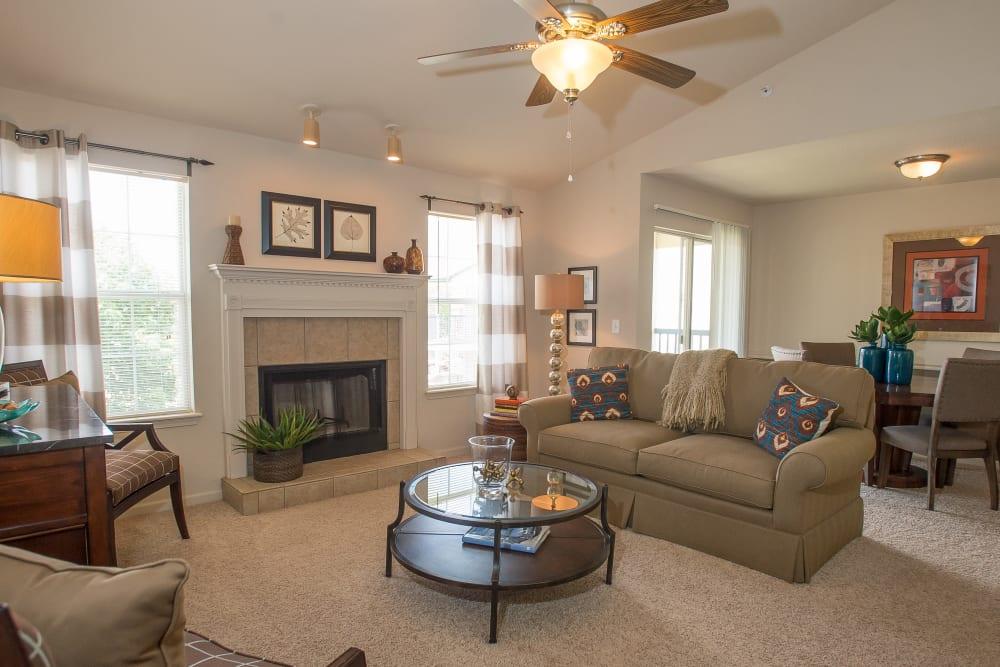Bright living room at Villas at Stonebridge in Edmond, Oklahoma