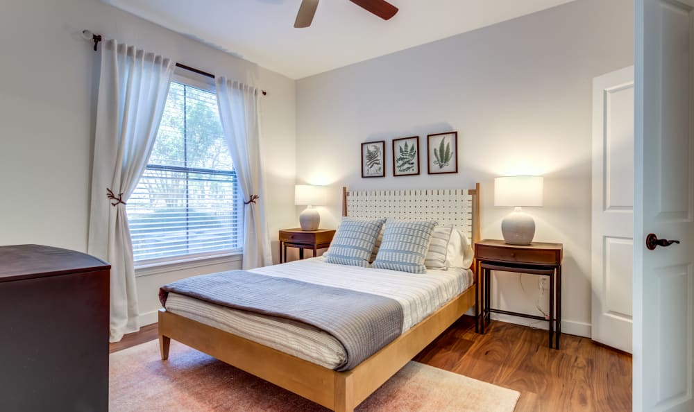 Comfy bedroom with great lighting at Riata Austin in Austin, Texas