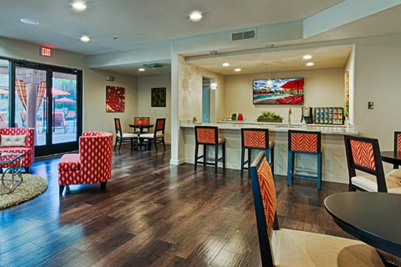 Enjoy the large community clubhouse at Casa Santa Fe Apartments in Scottsdale, Arizona