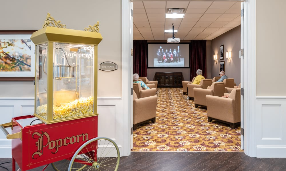 Onsite movie theater at Randall Residence of Centerville in Centerville, Ohio
