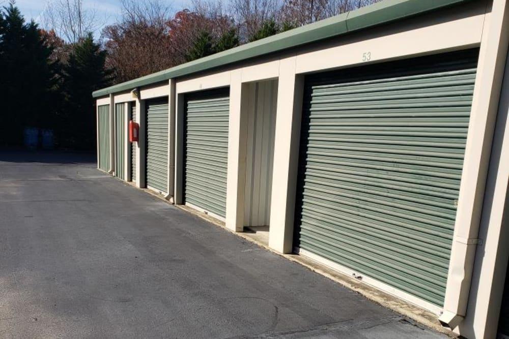 Outside storage at AAA Self Storage at Pleasant Ridge Rd in Greensboro, North Carolina.