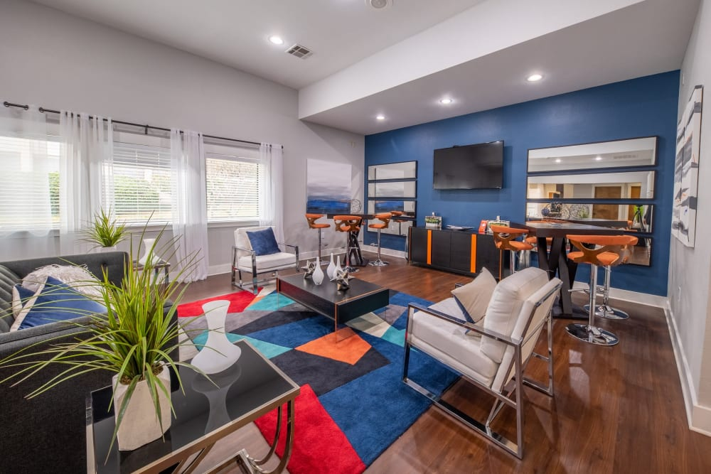Model apartment's living room at Ridgeview Place in Irving, Texas