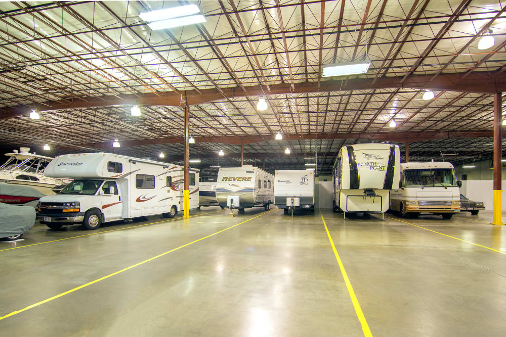Indoor RV parking at Prime Storage in Boardman, Ohio