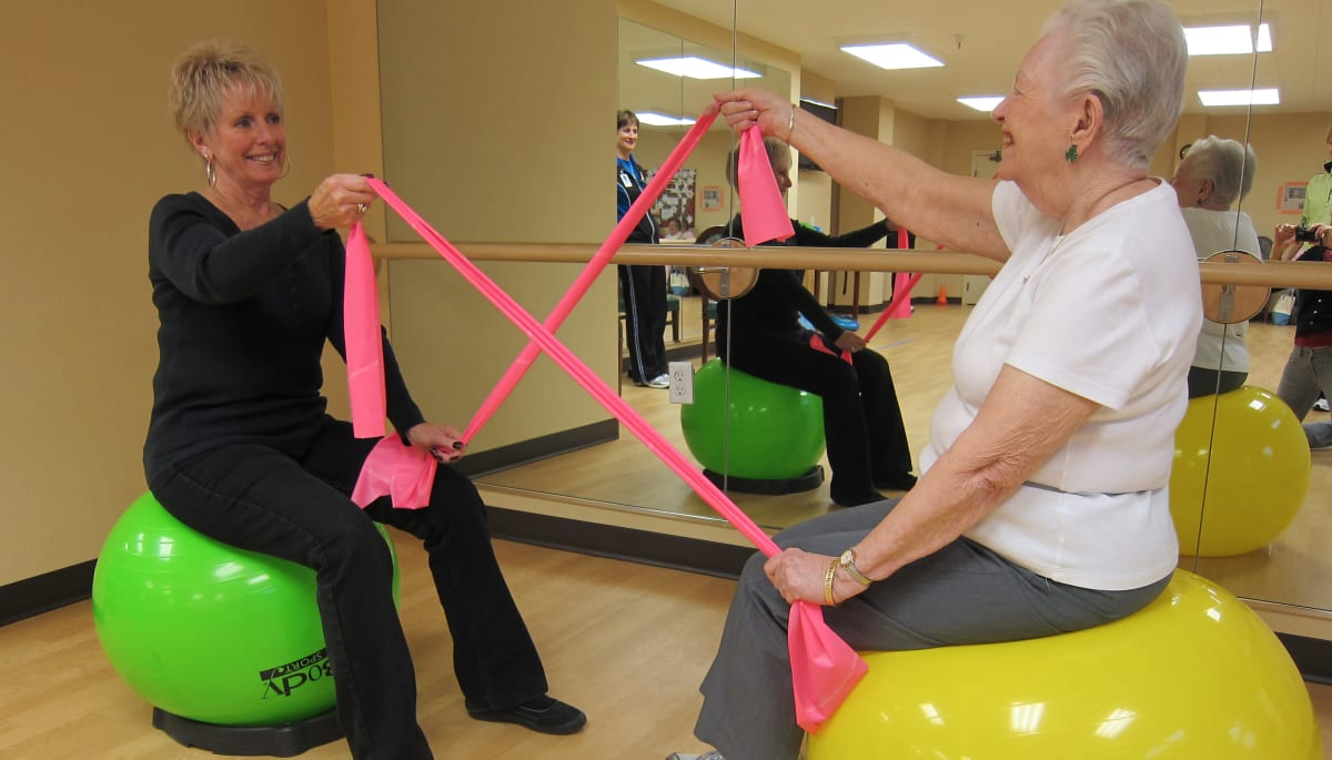 Two residents exercising at Touchmark on South Hill in Spokane, Washington