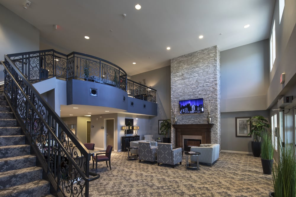 Gorgeous staircase at Oxford Villa Active Senior Apartments