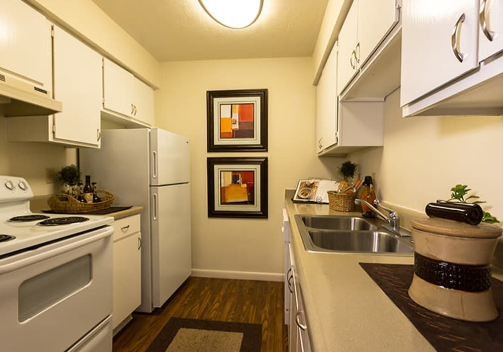Kitchen layout at Riverstone Apartments in Bryan, Texas