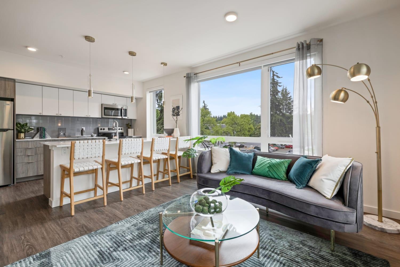 Modern living room at Nightingale in Redmond, Washington